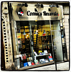 Devanture de la librairie Comics Records
